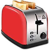 MADETEC 2 Slice Wide Slot Toaster Red Brushed Stainless Steel with Removable Crumb Tray,High Lift Lever, Defrost, 7 Shade Setting for Bread Bagel