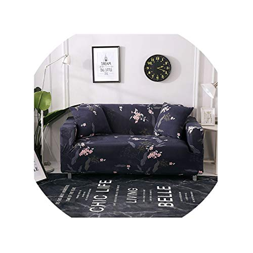 HISTORE Sofa Slipcover Floral Leaves Printing Sofa Cover Tight Wrap All Inclusive Couch Cover for Living Room Anti Dirty Furniture Cover 1/2/3/4 Seater,Catalina Blue,3Seater - Loveseat Catalina