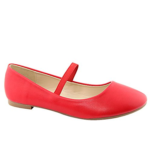 Jane Squeaky 33 Women's Red Stacy Upper Nubuck Round Toe Flat Strap Bella Mary Marie Shoes Dancing zqHxnwq8