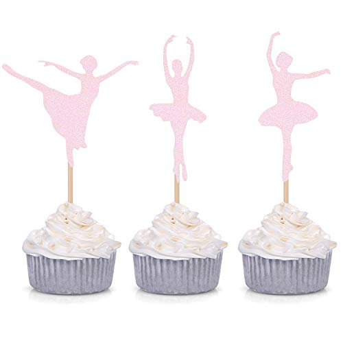 Giuffi 24 Counts Pink Ballerina Cupcake Toppers Ballet Girl Baby Shower Birthday Party Decorations Picks …