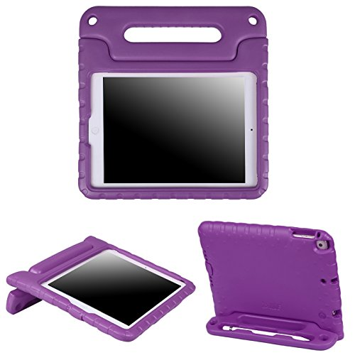 HDE Case for iPad 9.7 inch 2018 / 2017 Kids Shock Proof Bumper Cover Stand with Handle for New 6th Gen Apple Education iPad (Integrated Apple Pencil Holder) and 5th Generation iPad 9.7 - Purple