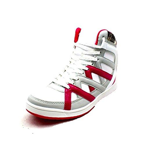 Blanco / rosa zapatillas Hi-top de encaje Blanco