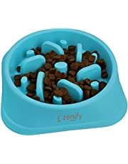 Zenify Dog Bowl Slow Feeder - Large 500ml Healthy Eating Pet Interactive Feeder with Anti-Skid Non-Slip Grip Base to Reduce Overeating Bloating Vomiting Obesity for Wet Dry Raw Food and Water (Blue)