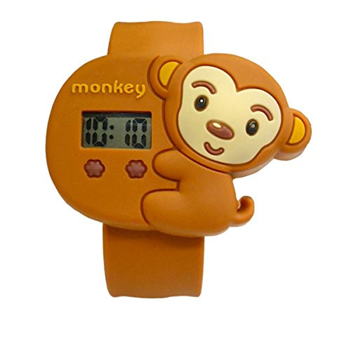 Cartoon Brown Monkey Unisex Kids Water-Resistant Sports Watch Bendable Rubber Strap Wrist Watch