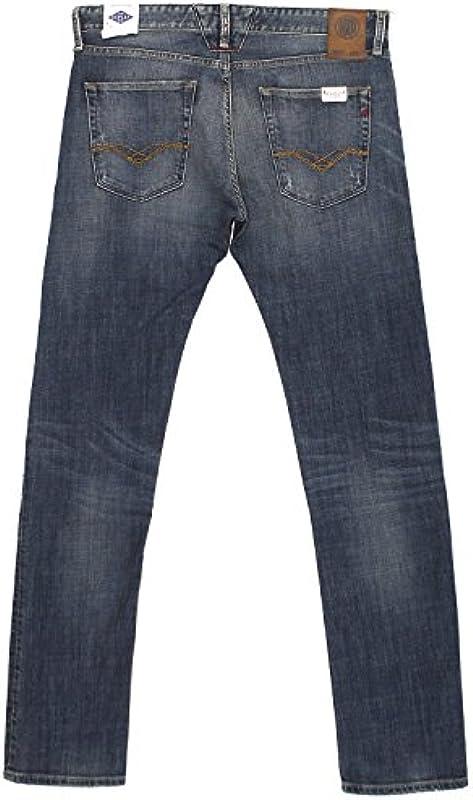 Replay, dżinsy męskie spodnie, lenrick Regular Slim, Stretch Denim, Blue Vintage [18410] - prosta nogawka 31W / 36L: Odzież