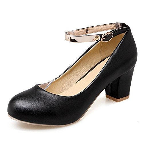 TAOFFEN Women Simple Block High Heel Platform Court Shoes With Ankle Straps 471 Black bYekVV