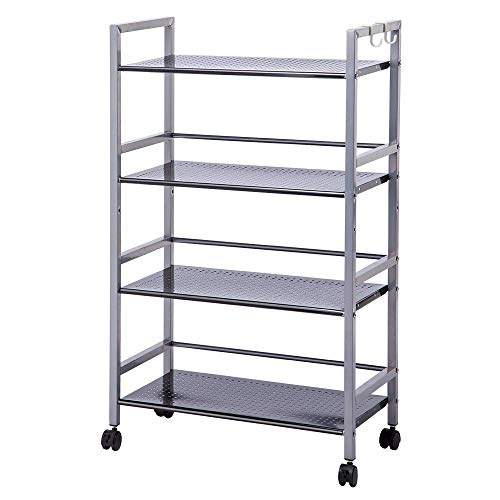SINGAYE 4-Tier Shelving Unit Kitchen Rack Storage Cart with Easy Moving Wheels,Adjustable Microwave Storage Shelf Rolling Cart on Square Tube,55 lbs Weight Capacity, Silver (Drawer Shelf Shop Stand)