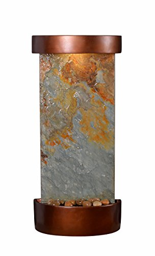 "Kenroy Home 51027SLCOP Riverbed Wall/Table Fountain with Light, 26"" H, Natural Green Slate/Copper Finish"