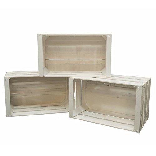 Wonderful Set 3 Cassette Legno Frutta Nuove Resistenti Colore Bianco Per Scaffali E  Librerie 50x30x28: Amazon.it: Casa E Cucina