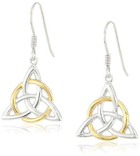18k Yellow Gold Plated Sterling Silver Two Tone Celtic Triquetra Trinity Knot Triangle Drop Earrings - Gold Plated Celtic Knot