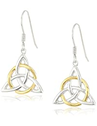 Sterling Silver Celtic Triquetra Knot Triangle Drop Wire Earrings