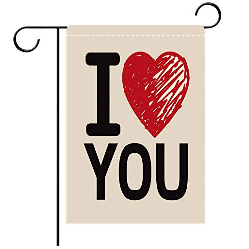 Polyester and linen Garden Flag Outdoor Flag House Flag BannerI Love You Simplistic Love You Calligraphy Wedding Lovers Relationship Illustration Decorative decorated for outdoor holiday gardens ()