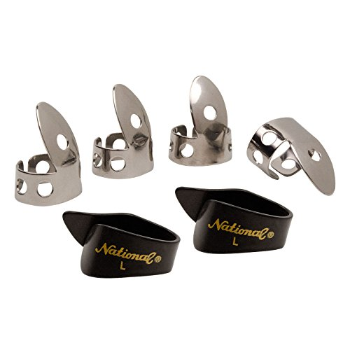 National NP1-8B Thumb & Finger Pick Pack - Stainless Steel/Black - (National Fingerpicks)