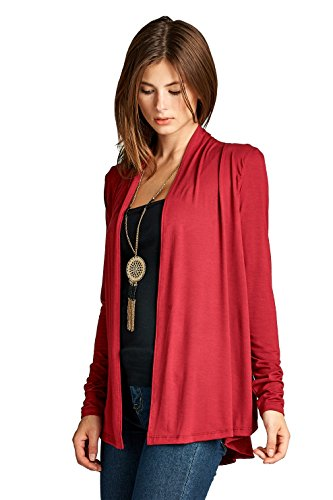 ReneeC. Women's Extra Soft Natural Bamboo Open Front Cardigan - Made in USA (X-Large, Wine)