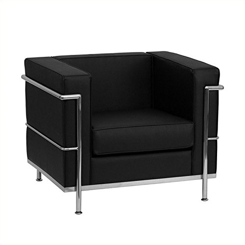 Flash Furniture ZB-Regal-810-1-CHAIR-BK-GG HERCULES Regal Series Contemporary Black Leather Chair with Encasing by Flash Furniture