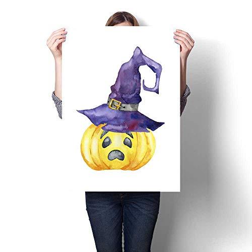 Anshesix Canvas Print Wall Art Halloween Pumpkin on White Background Artwork for Wall Decor 32