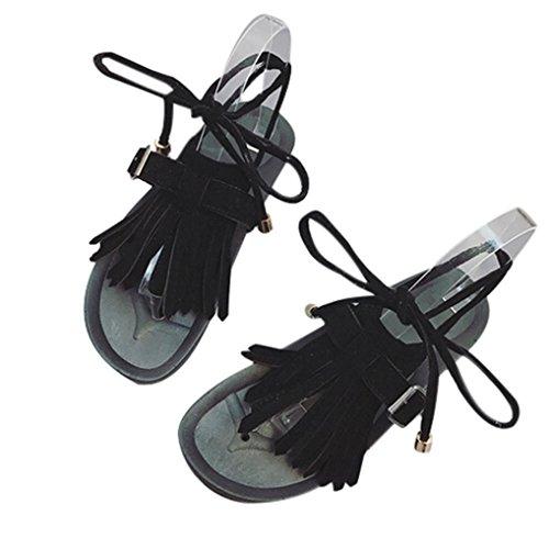 BZLine® Frauen Sandalen Casual Quaste Cross Strap Flip Flop Flat Sandalen Schwarz