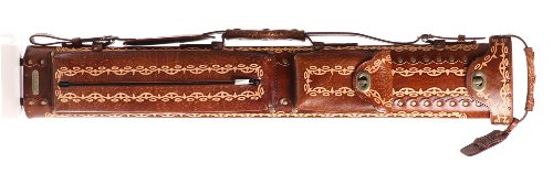 Instroke 3 Butt 7 Shaft Saddle Leather Cue Case Brown Hand Painted D01