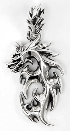 Flaming Dragon Solid .925 Sterling Silver