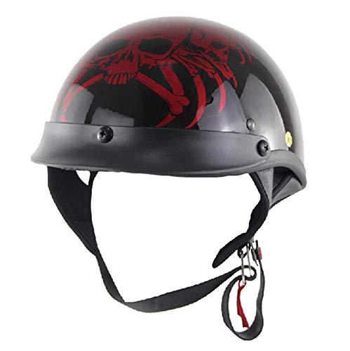 Meyane Motorcycle Half Face Helmet DOT Certification Vintage Fashion Motor Bike Harley Helmets Men and Women Helmets Half Helmets Half-Covered Helmets Cruise Helmets Prince Helmets(L:56-57CM)