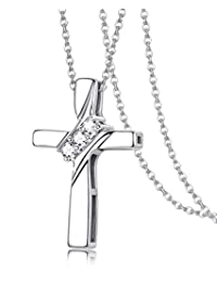 Sllaiss Set with Swarovski Zirconia Cross Necklace 925 Sterling Silver CZ Cross Pendant Necklace Mother Gift Chain 18""