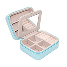 Small PU Leather Travel Jewelry Box Organizer with Mirror & Detachable slots (Blue)