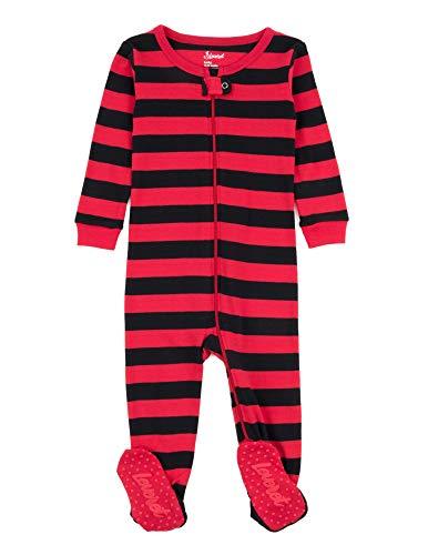 Leveret Kids Pajamas Baby Boys Girls Footed Pajamas Sleeper 100% Cotton (Black/Red, Size 3 Toddler)