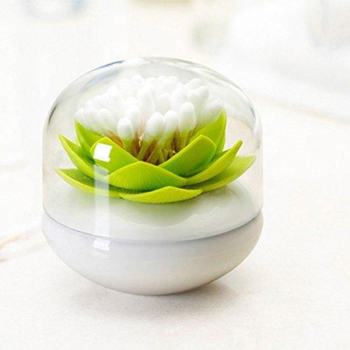 Adeeing Hot Chic Lotus Flower Cotton Bud Swab Holder, Small Q-tips Toothpicks Case Box Storage Organizer Home Decor Green