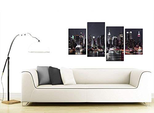 Modern Split Set of 4 City Canvases 130cm Wide XL Multi Panel NYC Cityscape Prints Wallfillers Canvas Pictures York Skyline for your Living Room