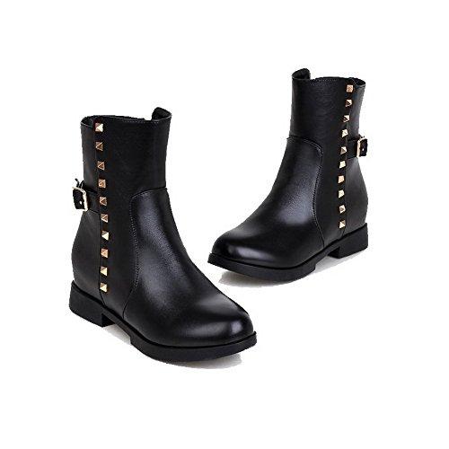 Allhqfashion Women's Round Closed Toe Low-top Kitten-Heels Solid PU Boots Black dS01GOU