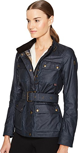 BELSTAFF Women's Roadmaster 2.0 Signature 6 Oz. Wax Cotton Jacket Dark Teal 44 by Belstaff (Image #1)