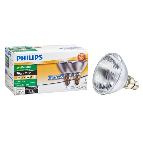 Base Long Life Light Bulb (Philips 430421 Halogen PAR38 90 Watt Equivalent Dimmable Flood Standard Base Light Bulb, Long Life 2-Pack)