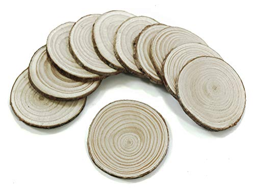 "ALL in ONE Wood Slices Unfinished Predrilled Wooden Circles for DIY Craft Ornaments NO Hole (2""-2.36""-50pcs)"