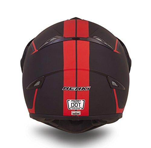 NENKI Dual Sport Helmet Full Face Motocross & Motorcycle Helmets Dot Approved Iridium Red Visor Attached Clear Visor NK-310 (XL, Matt Black & Red) by NENKI (Image #5)