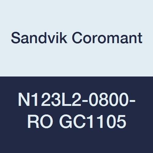 Sandvik Coromant CoroCut 2-Edge Carbide Profiling Insert, GC1105 Grade, TiAlN Coating, 2 Cutting Edges, N123L2-0800-RO, 0.1575'' Corner Radius, L Insert Seat Size (Pack of 10) by Sandvik Coromant