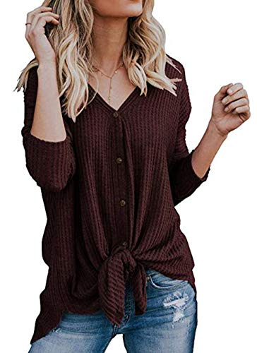 UGET Womens Long Sleeve V Neck Button Down Waffle Knit Tunic Blouse Tie Knot Henley Tops (Medium, - Womens Knot Cloth