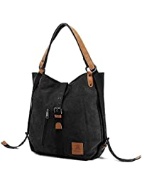 174e3bc097 Unisex Canvas Shoulder Bag Casual Travel Daypack Backpack Large Capacity Handbag  Messenger Hobo Tote Bag