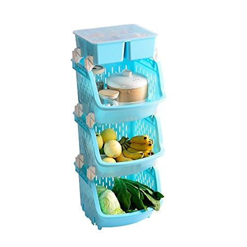 YAN JUNau Bastidores De Cocina, Piso, Plástico, 3 Pisos, Curvo, Frutas Y Verduras, Cestas De Almacenamiento ++ (Color :...
