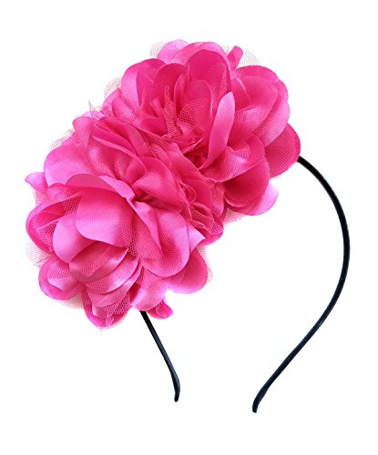 Ahugehome Vintage Elegant Flower Fascinator Hair Clip Headband Tea Party (AO Rose Red Fuschia)