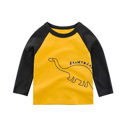 Baby Boys' T-Shirts,Crytech Toddler Kids Long Sleeve Organic Crew Neck Cartoon Car Dinosaur Bear Tiger Animal Pattern Graphic Tee Shirt Autumn Winter Tops Clothes 1T-7T (2-3 Years, Yellow)