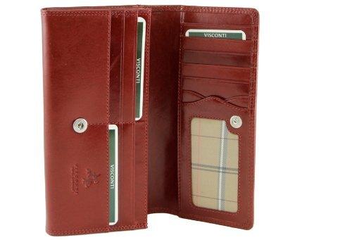 - Visconti Monza 10 Ladies Large Soft Leather Checkbook Wallet Purse (Red)