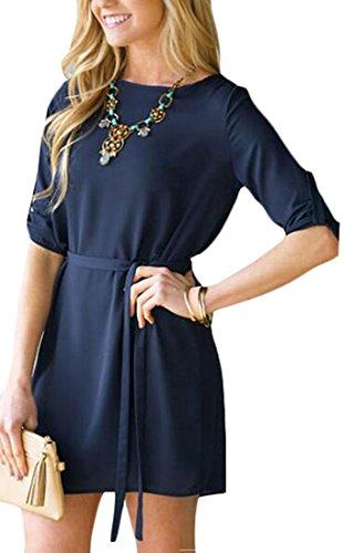 Jaycargogo Manches Longues Femmes T-shirt Robe Casual Tunique Lâche 1