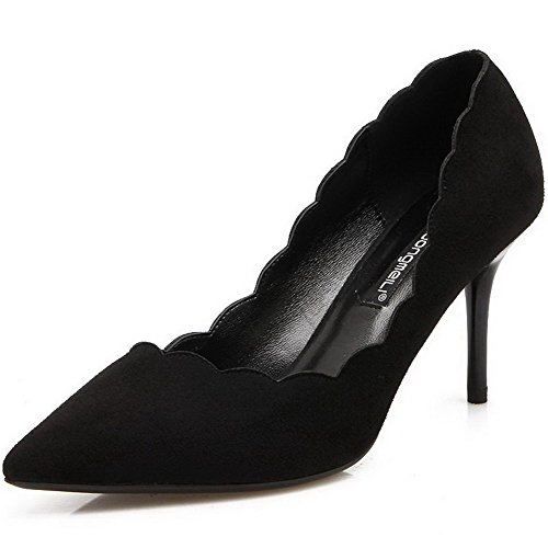 AalarDom Women's Pointed-Toe Spikes-Stilettos Pumps-Shoes with Lace Ornament, Black-Ruched, 34