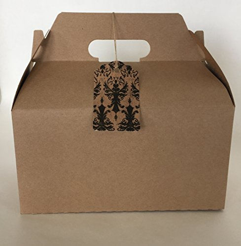 Kraft Gable Boxes, Large 9.5 x 5 x 5 Siz - Brown Damask Gift Shopping Results