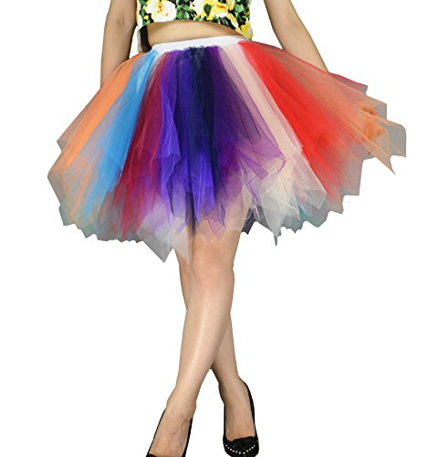YSJERA Women's Tutu Tulle Mini A-Line Petticoat Prom Party Cosplay Skirt Fun Skirts (XL, Rainbow)