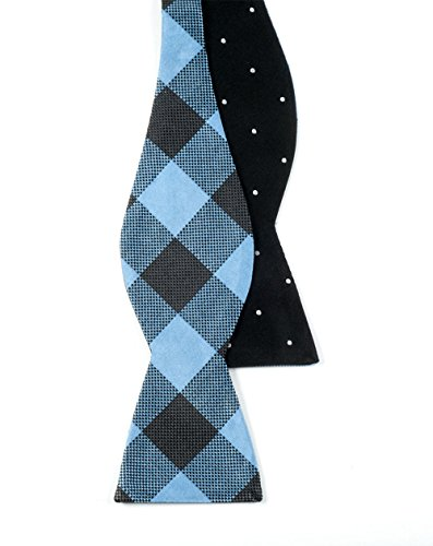 The Tie Bar 100% Silk Black Light Blue Dot Buffalo Reversible Self-Tie Bow Tie (Reversible Bow Tie)