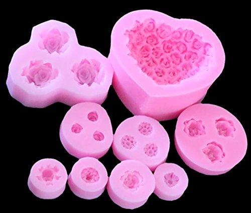 Juego de 9 moldes de silicona para horno, jabón, rosas, chocolate: Amazon.es: Hogar