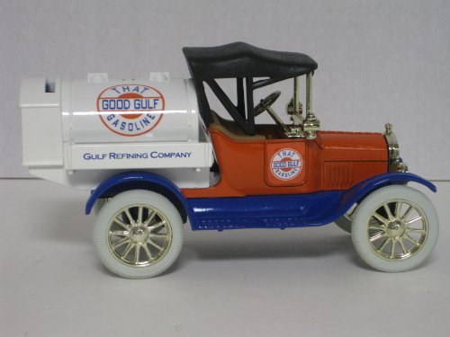 ERTL Die Cast Truck Model #1368: 1918 Model T Ford Runabout Tanker Truck Bank with Gulf Logo, 1/25th Scale