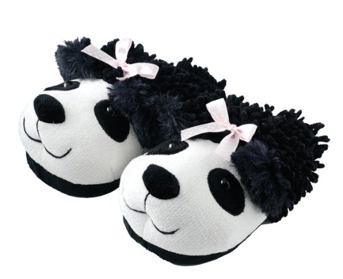 Aroma Home Shoes Panda Fuzzy, Women's Open Back Slippers, White (White), M UK (40/41 EU)
