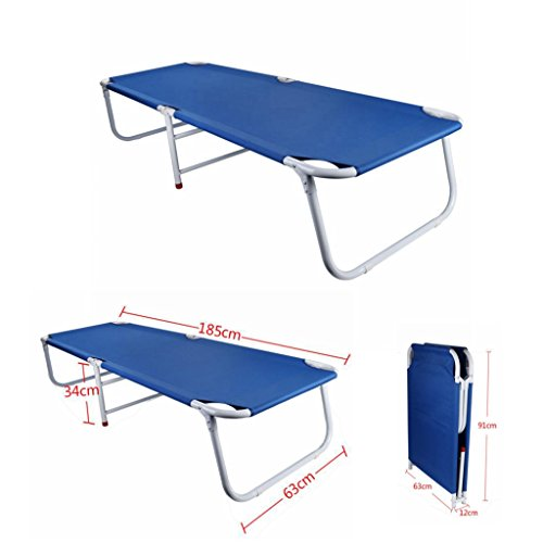 Portable Folding Bed, Office Napping Bed Extendable Folding Single Bed Lounge Chair, Patio Outdoor Camp Bed by Libison